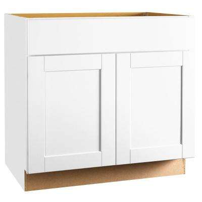 Shaker Assembled 36x34.5x24 in. Base Kitchen Cabinet with Ball-Bearing Drawer Glides in Satin White