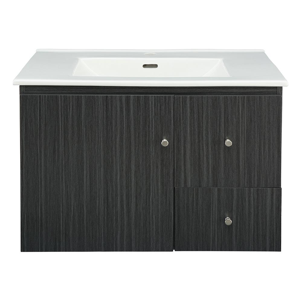 Home Decorators Collection Griffith Park 31 in. W x 18 in. D Vanity in Black and Grey with Vitreous China Vanity Top in White with White Sink