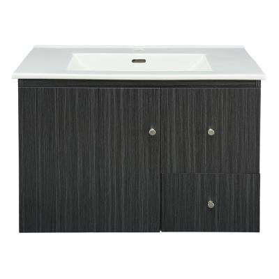 Griffith Park 31 in. W x 18 in. D Vanity in Black and Grey with Vitreous China Vanity Top in White with White Sink