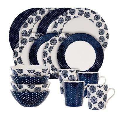 16-Piece Print Blue Indigo Flower and Arrow Set
