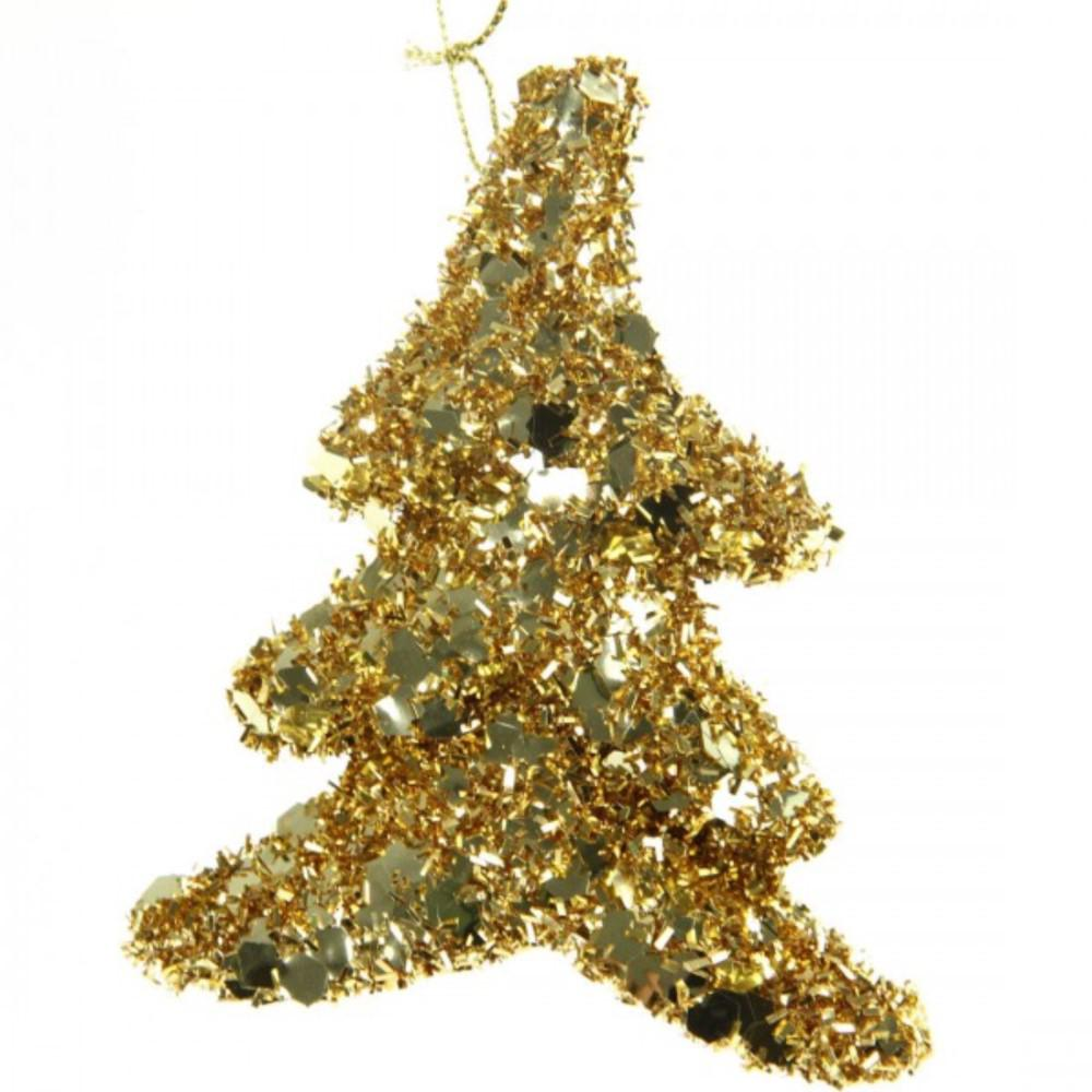 130 mm christmas glitter tree ornament with hanger in gold 10 set