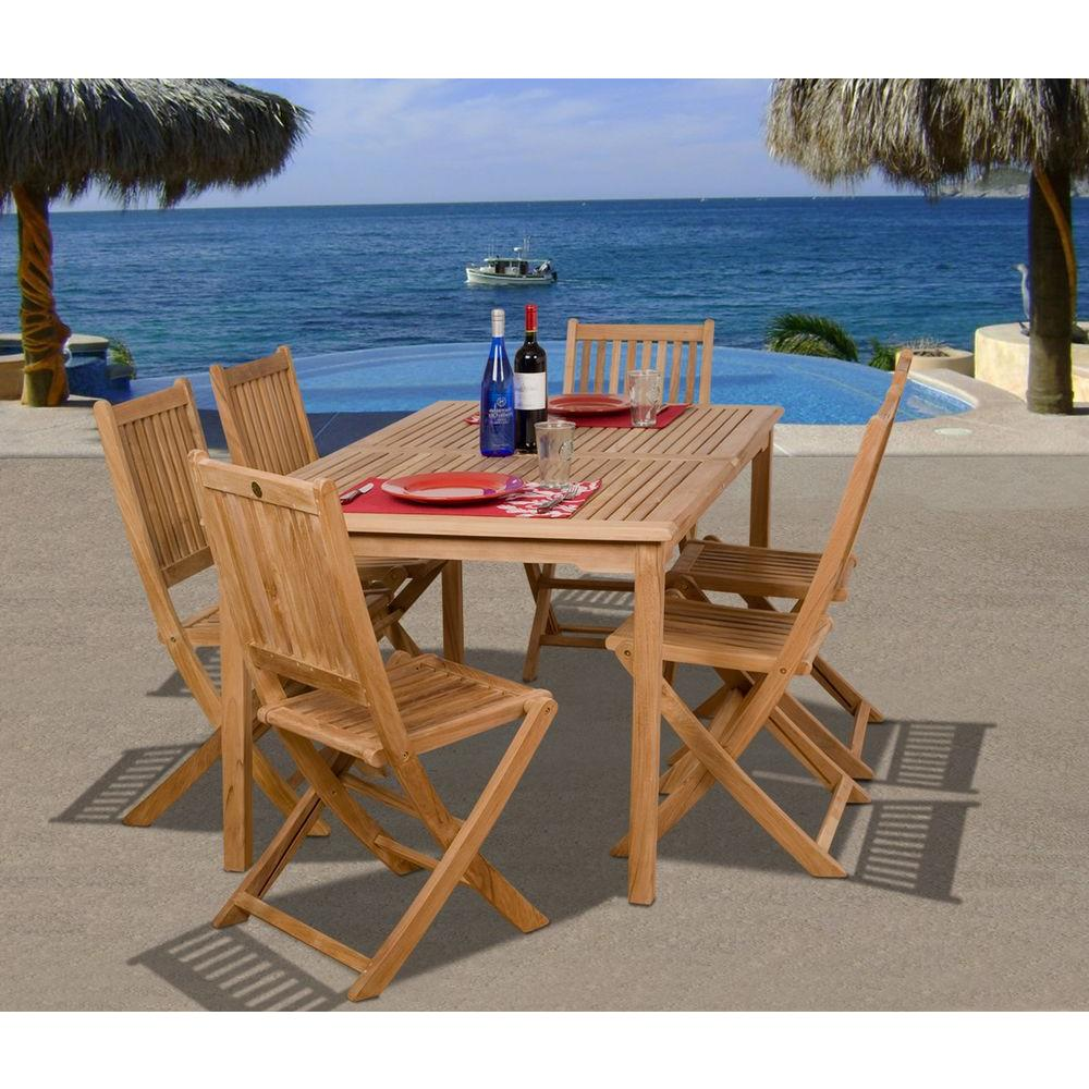 Amazonia prague 7 piece teak patio dining set sc prague the home depot Home depot teak patio furniture