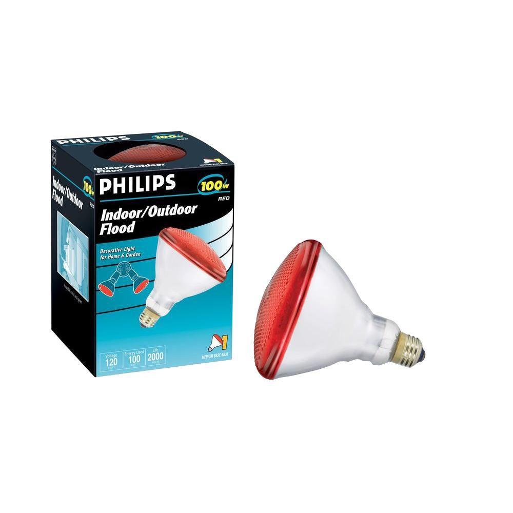 100-Watt Incandescent PAR38 Flood Light Bulb - Red (6-Pack)