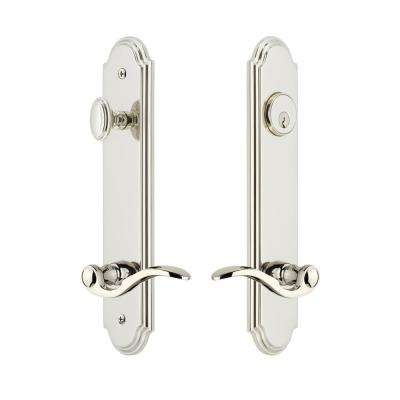 Arc Tall Plate 2-3/8 in. Backset Polished Nickel Door Handleset with Bellagio Door Lever