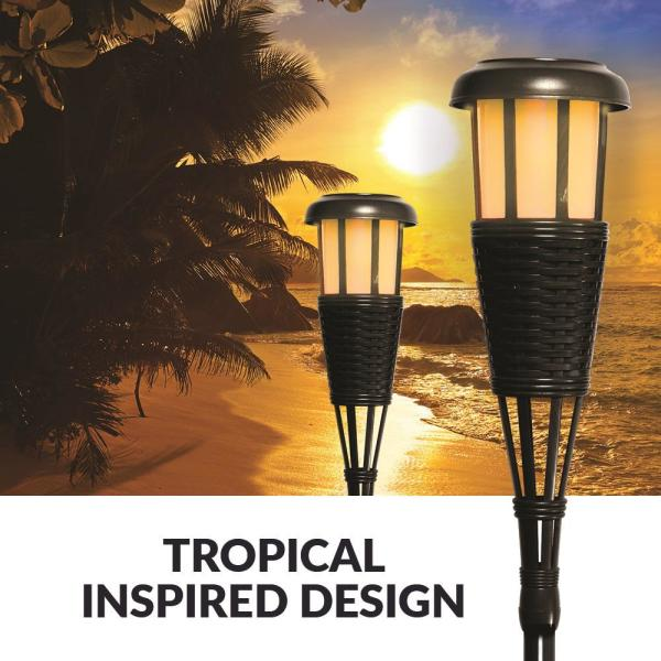 Natural Bamboo Newhouse Lighting Solar Flickering LED Tiki Torches 4-Pack