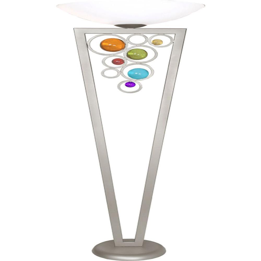 Century 71 in. Brilliant Silver Torchiere Lamp
