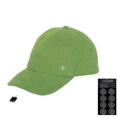 Coin Battery Hat with Attachable LED Light, Green