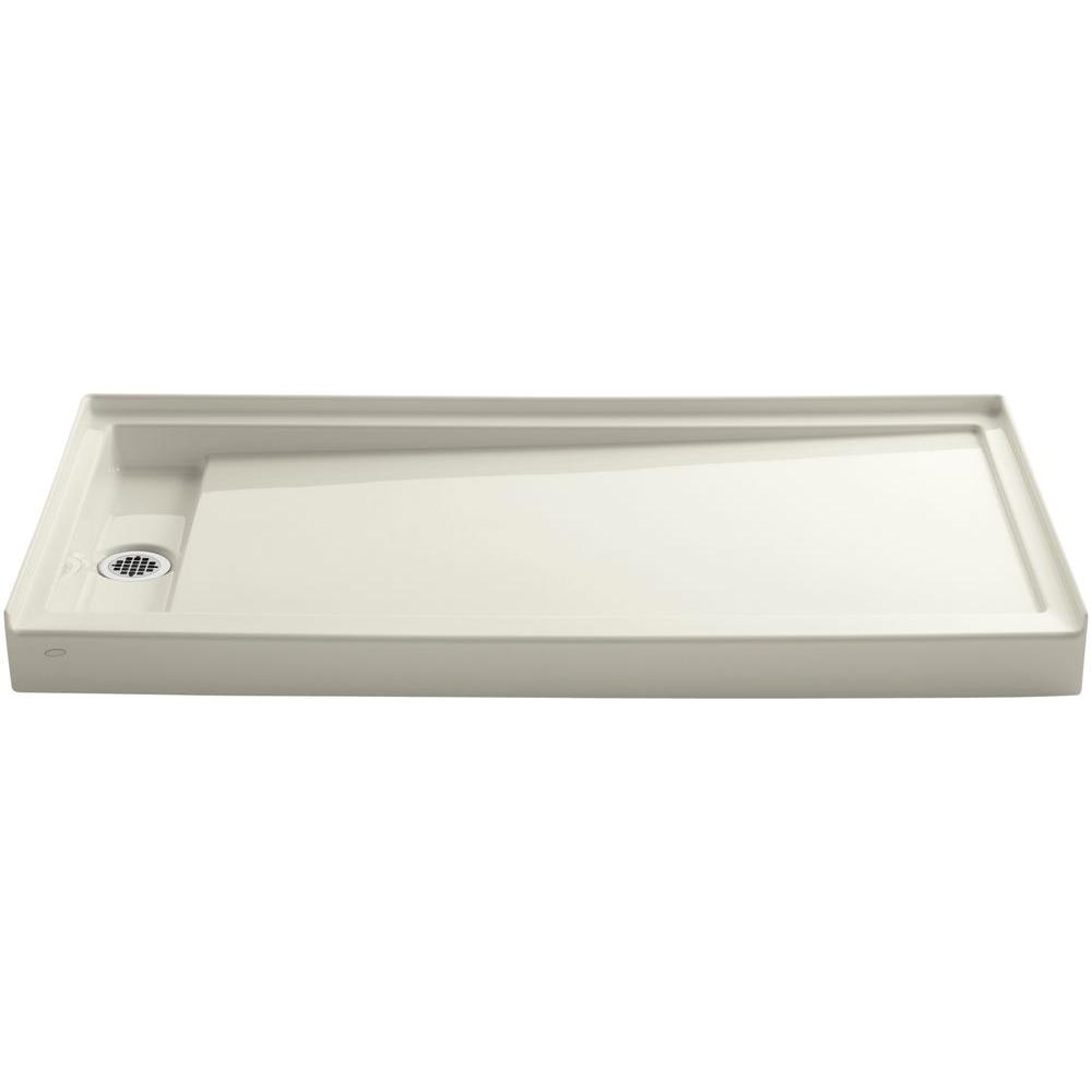 KOHLER 60 in. x 32 in. Groove Acrylic Base Left-Hand Drain in Biscuit