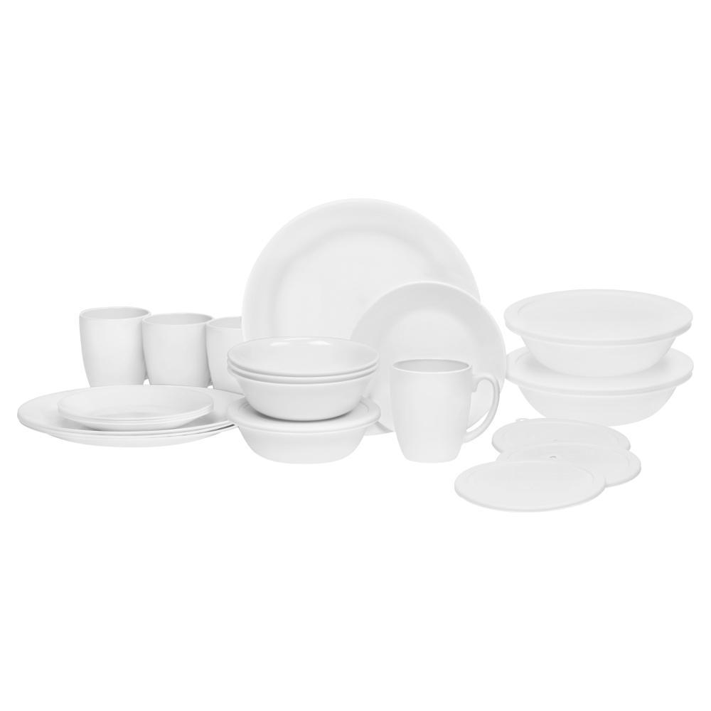 Corelle 24-Piece Livingware Dinnerware Set in White  sc 1 st  Home Depot & Corelle 24-Piece Livingware Dinnerware Set in White-1124781 - The ...