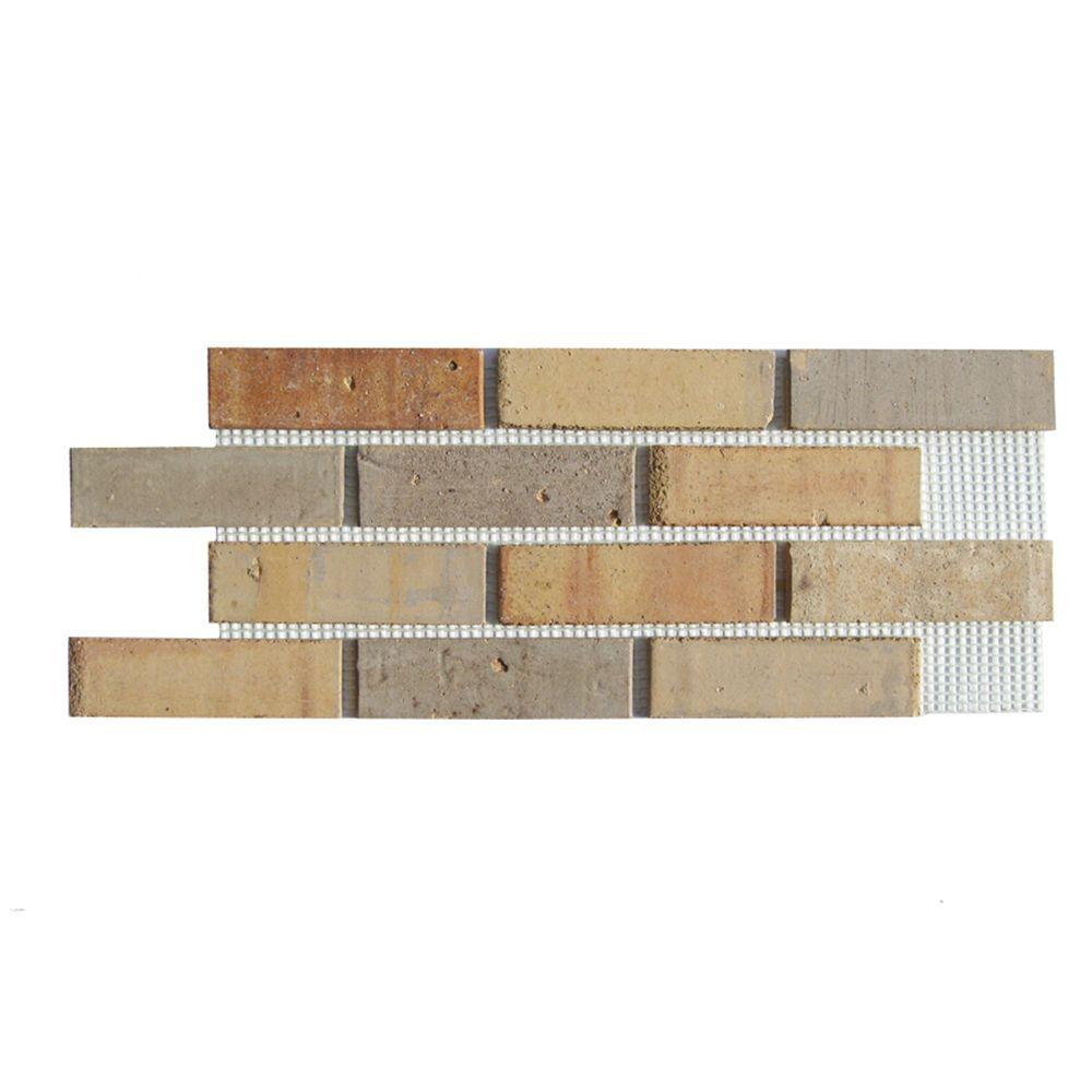 Brickwebb Pony Express Thin Brick Sheets - Flats (Box of 5 Sheets) - 28 in x 10.5 in (8.7 sq. ft.)