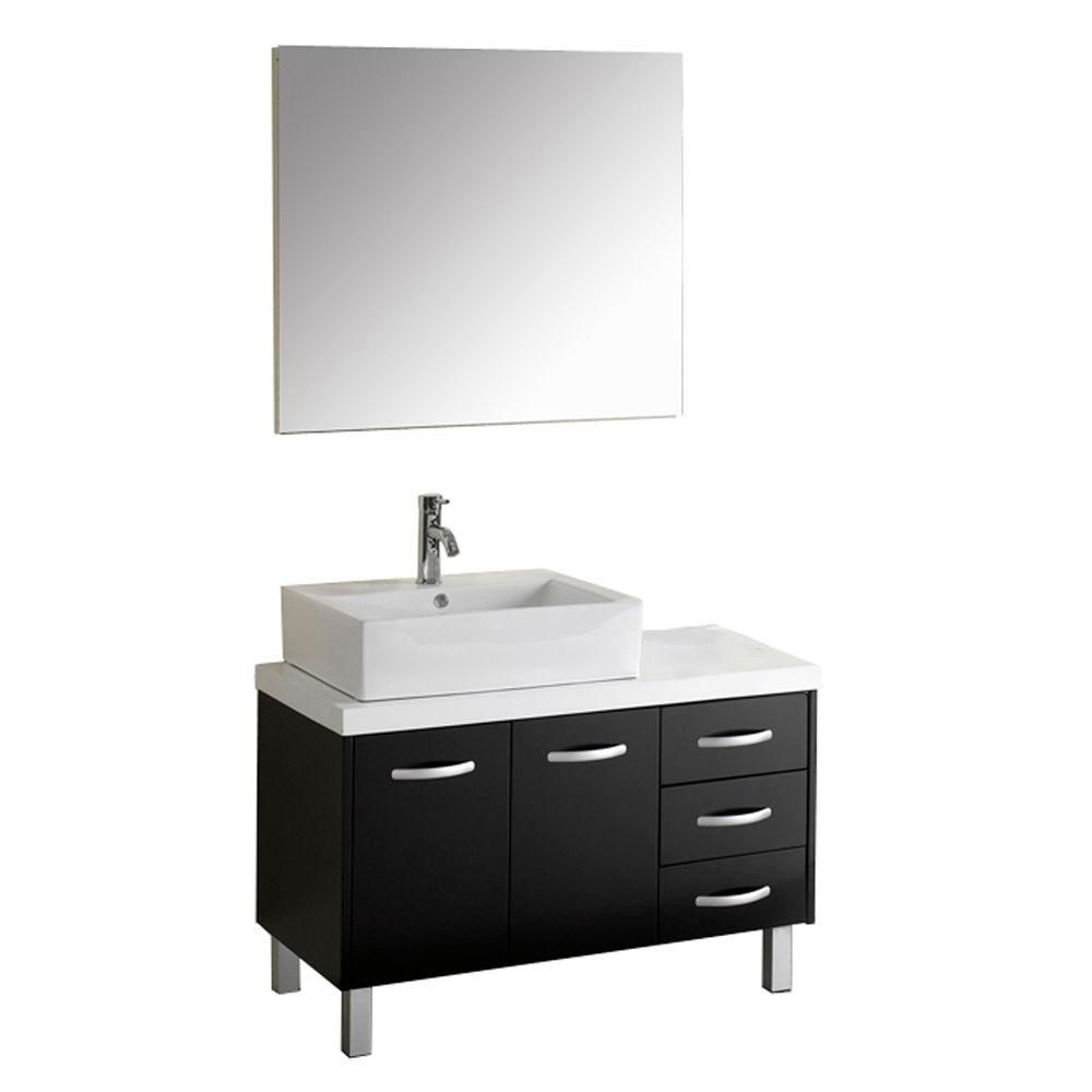 Virtu USA Tilda 35.98 in. W x 22.05 in. D x 21.97 in. H Espresso Vanity with Stone Vanity Top with White Square Basin and Mirror