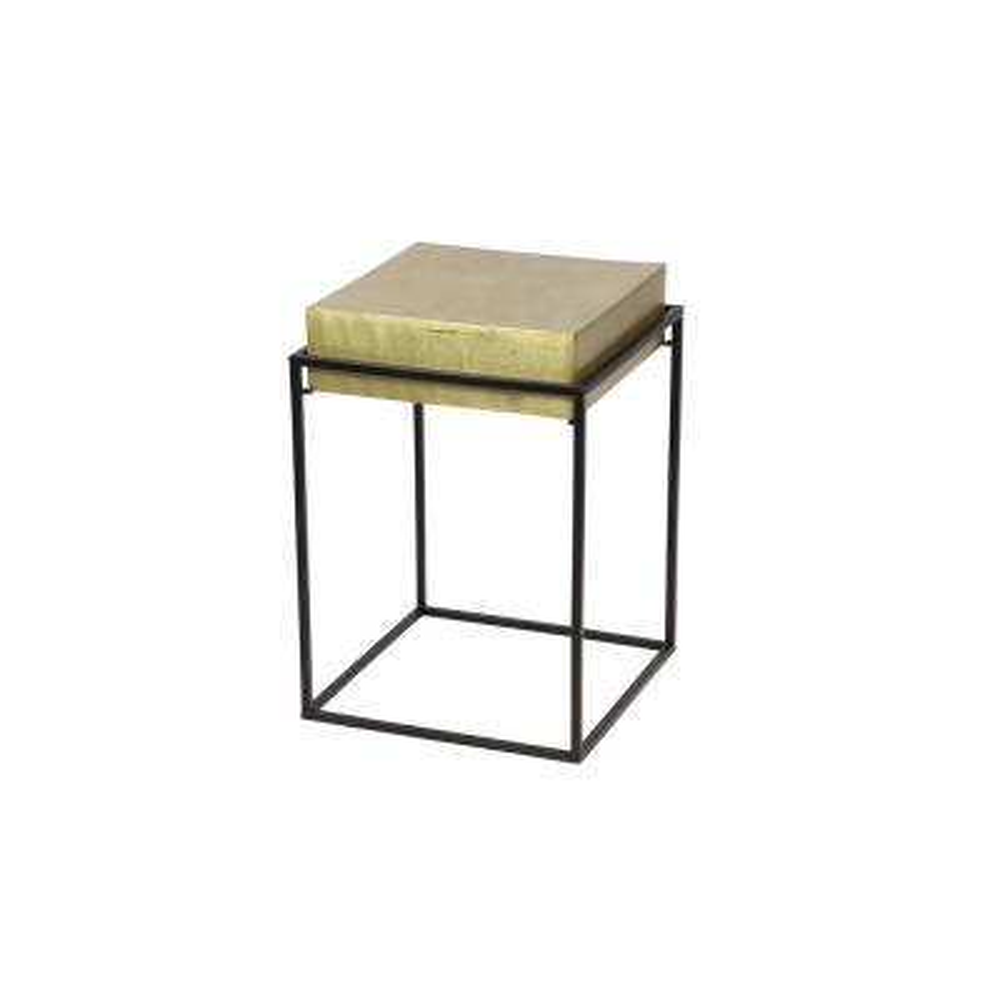 Litton Lane Small Mid-Century Modern Gold Aluminum Block Accent Table on Black Iron Stand