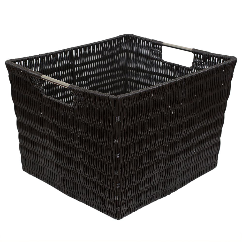 Intricate Decorative Weave 13 in. x 10 in. Espresso Basket