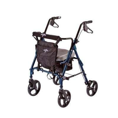 Aluminum Lightweight Deluxe Folding 4-Wheel Rollator in Blue