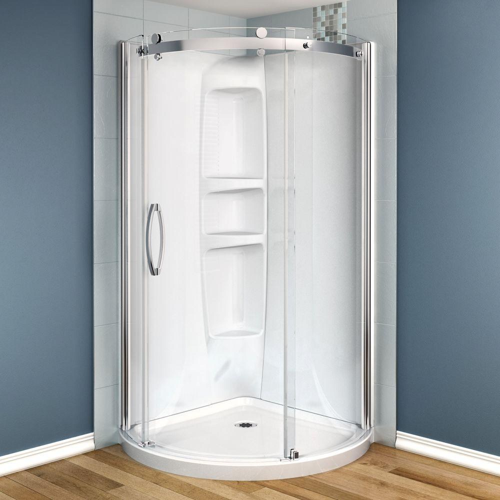 MAAX Olympia 36 in. x 36 in. x 78 in. Corner Round Shower Stall in ...