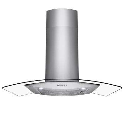 30 in. Convertible Wall Mount Range Hood in Stainless Steel with Tempered Glass and Button Controls