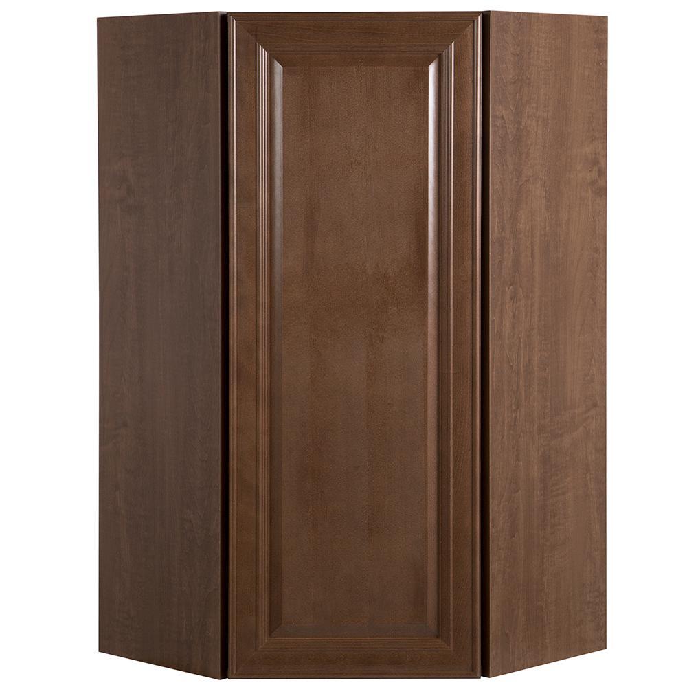 Benton Assembled 23.64x42x11.75 in. Corner Wall Cabinet in Butterscotch