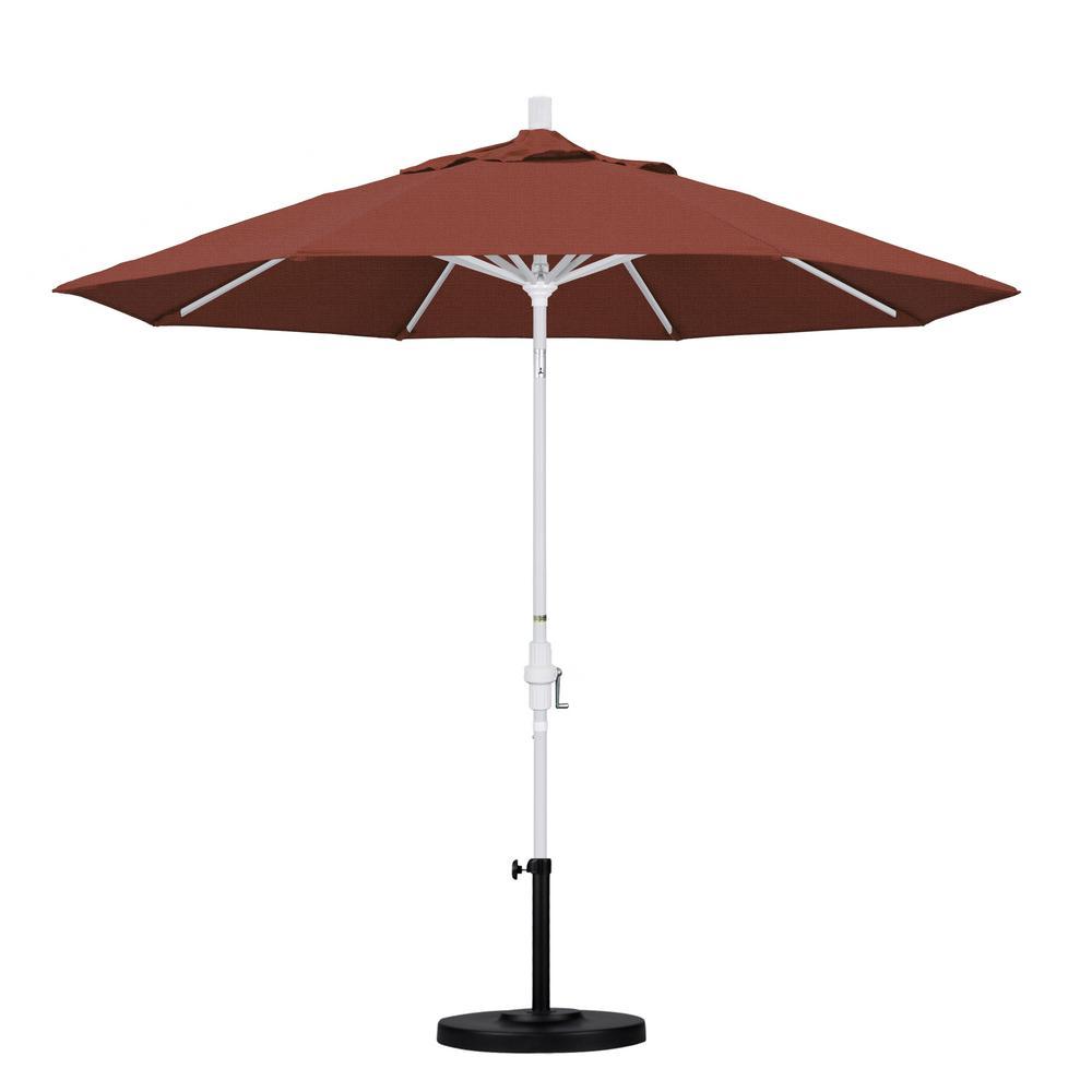 California Umbrella March Products GSCU908170-F69 9 ft. Aluminum Market Umbrella Collar Tilt - Matted White - Olefin - Terracotta