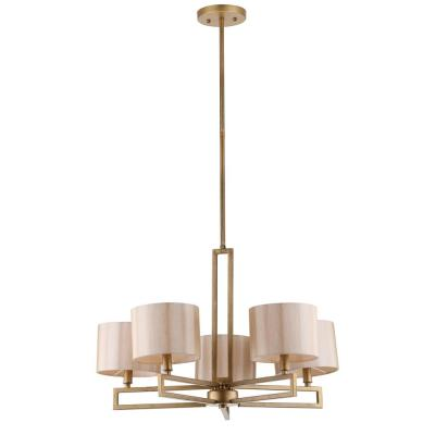 Catena 5-Light Antique Gold Chandelier with Cream Fabric Shades