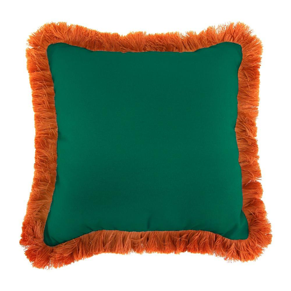 Sunbrella Canvas Forest Green Square Outdoor Throw Pillow with Tuscan Fringe