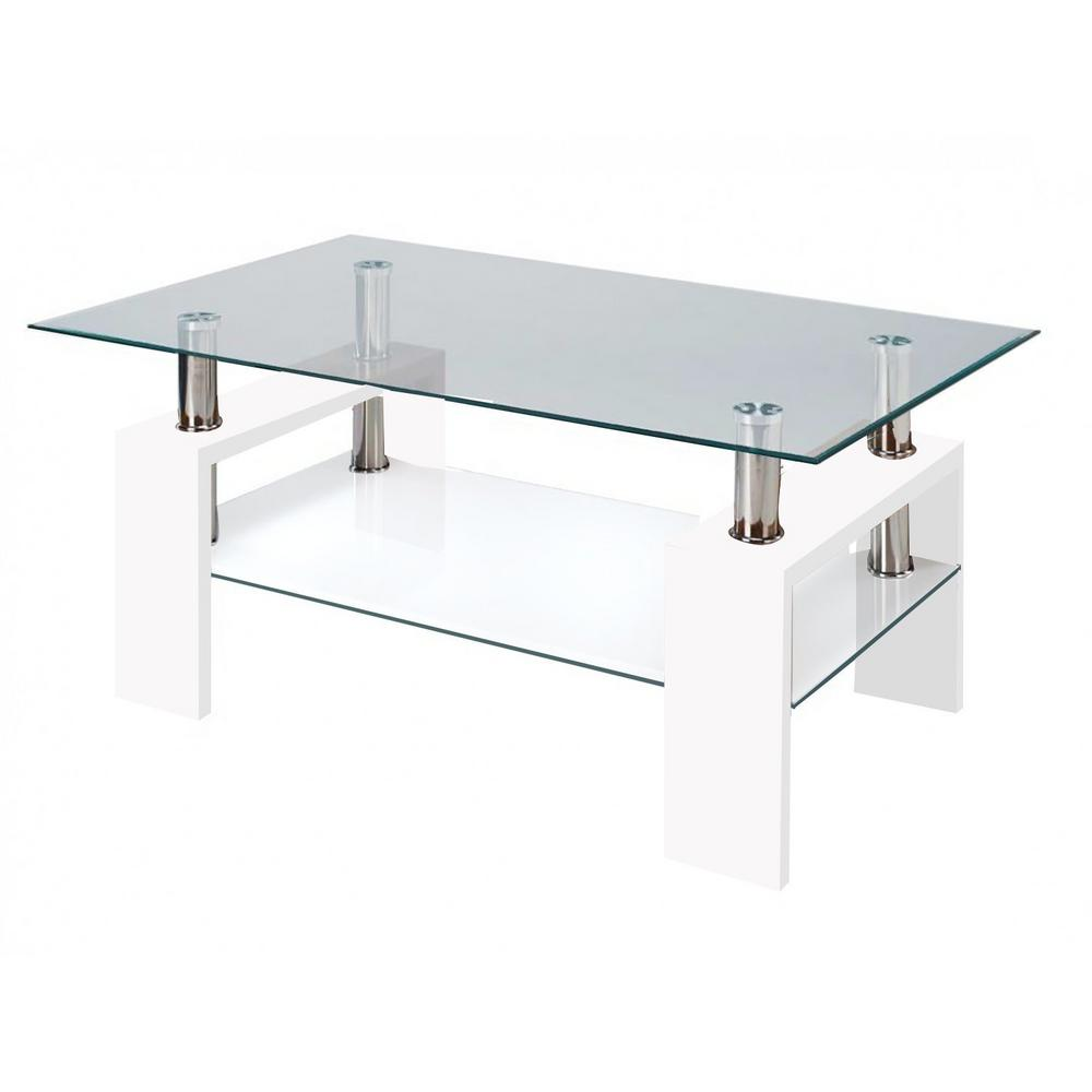 Fab Glass and Mirror Modern Glass White Coffee Table With Shelf ...