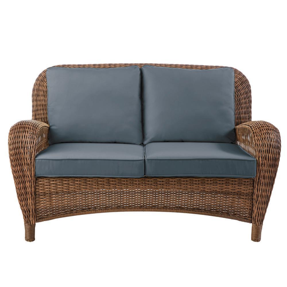 Beacon Park Brown Wicker Outdoor Patio Loveseat with Sunbrella Denim Blue Cushions