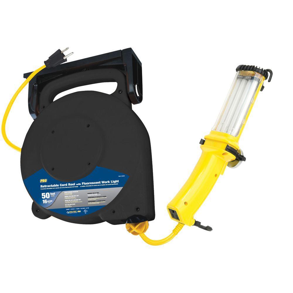 Tasco 50 ft. 16/3 SJT 26-Watt Fluorescent Mountable Retractable Cord Reel - Yellow and Black