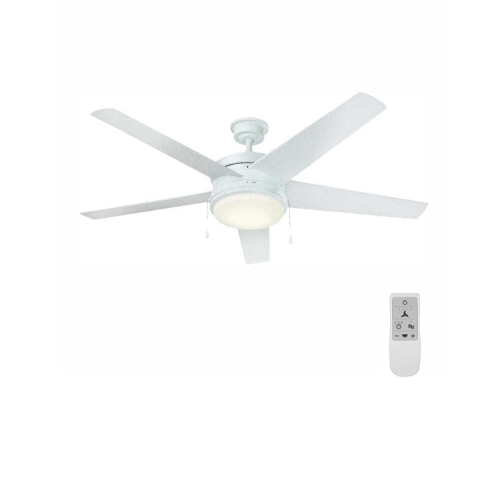 Home Decorators Collection Portwood 60 in. LED White Ceiling Fan and WiFi Remote Control works with Google and Alexa
