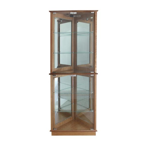 Sided Lighted Corner Curio Cabinet