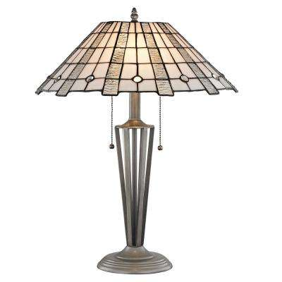 Zeus 23 in. Silver Table Lamp with Hand Rolled Art Glass Shade