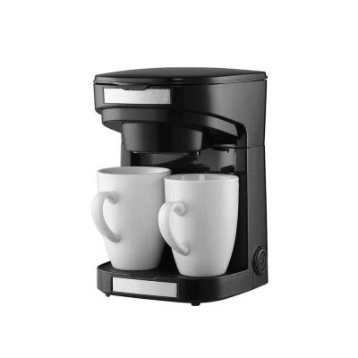 2-Cup/Person Black Drip Coffee Machine with 2-Porcelain Cup