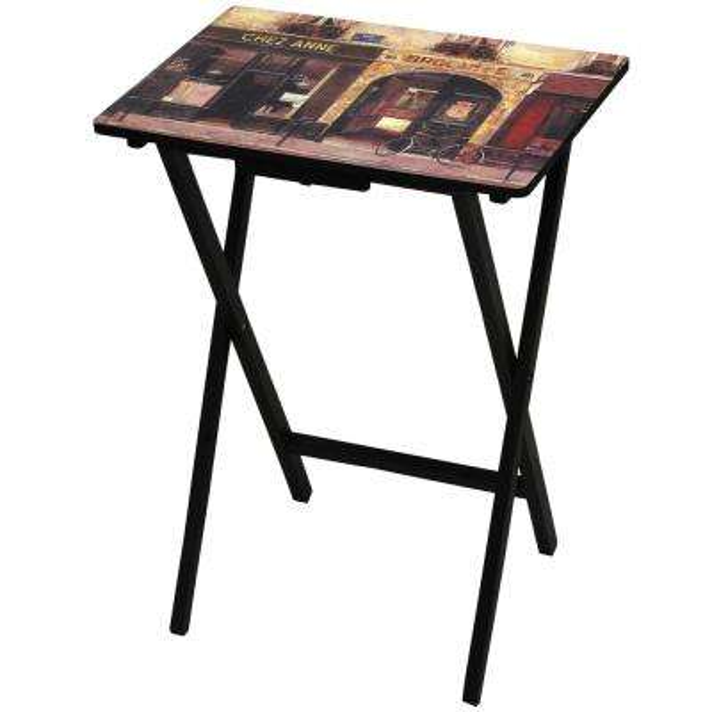 Oriental Furniture 19 in. x 13.75 in. Parisian Cafe TV Tray in Beige