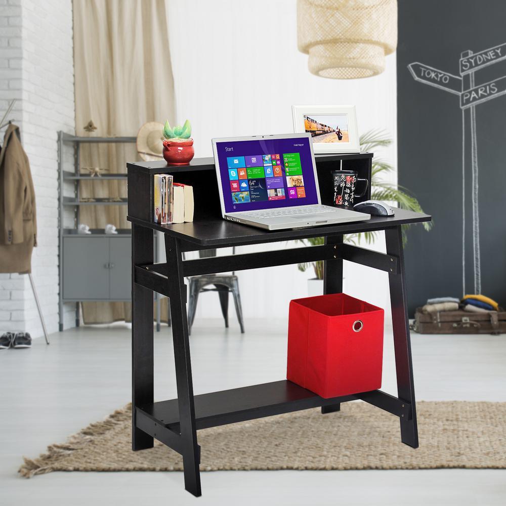 simplistic espresso computer desk with a frame