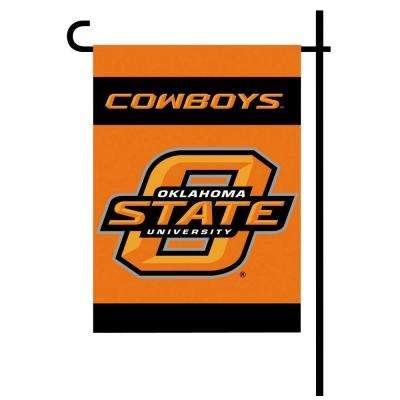 NCAA 13 in. x 18 in. Oklahoma State 2-Sided Garden Flag Set with 4 ft. Metal Flag Stand