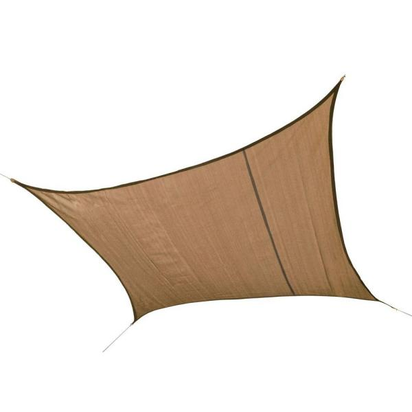 16 ft. W x 16 ft. L Square, Heavy-Weight Sun Shade Sail in Sand (Poles Not Included) with Long-Life, Breathable Fabric