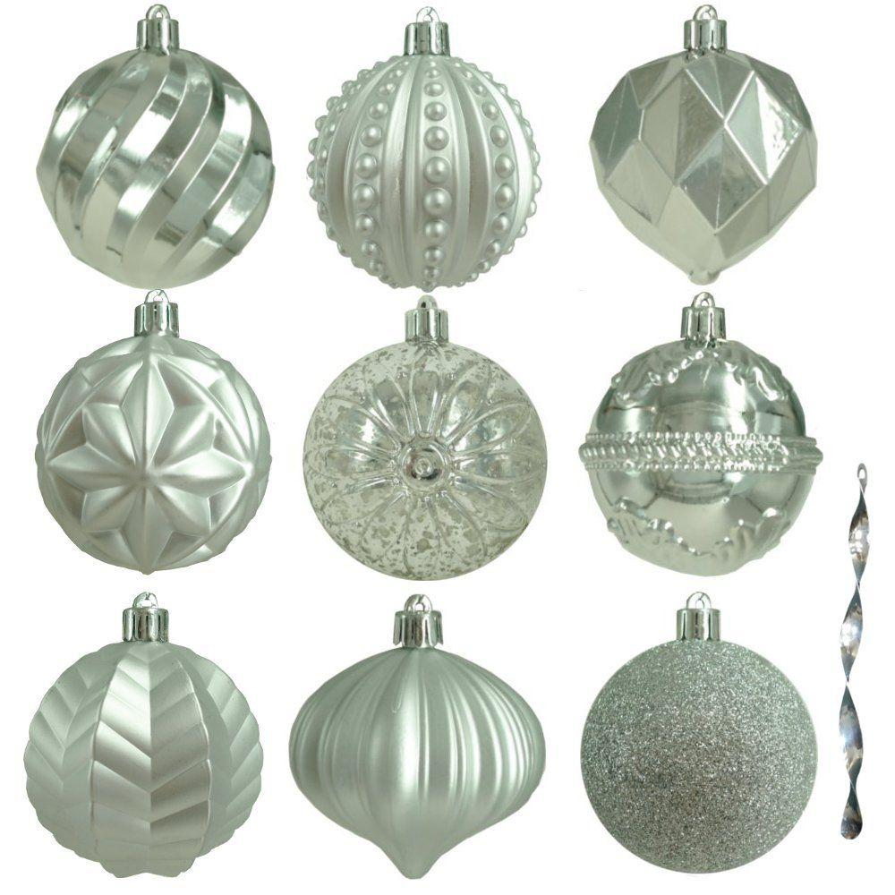 Home Accents Holiday 80 mm Assortment Ornament in Silver (75-Count)