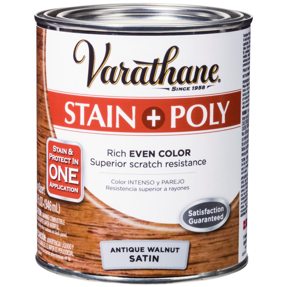 Varathane 1-qt. Antique Walnut Satin Water-Based Interior Stain and Polyurethane (2-Pack)