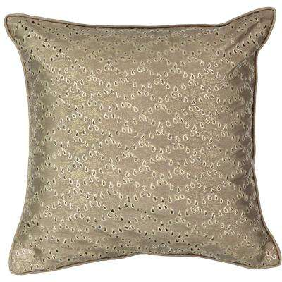 Sandrine Polyester Square Gold Eyelet Standard Decorative Pillow