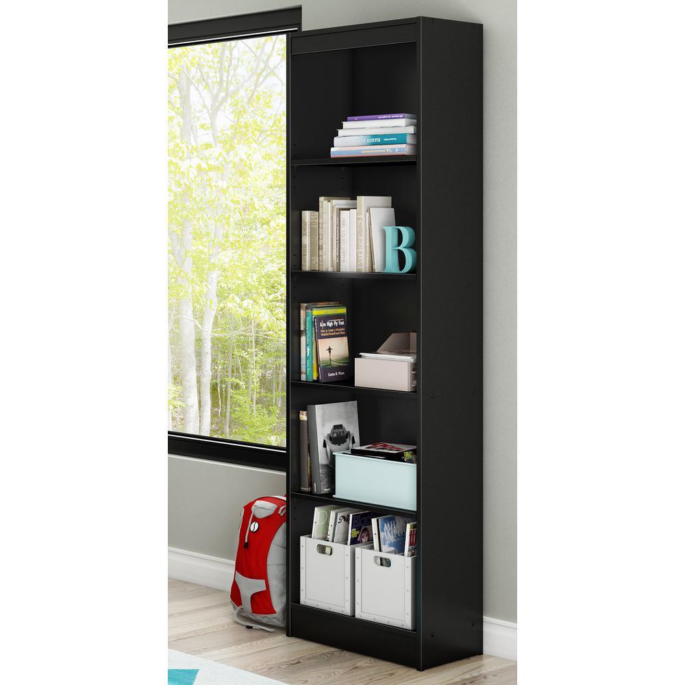 Axess 5-Shelf Pure Black Bookcase