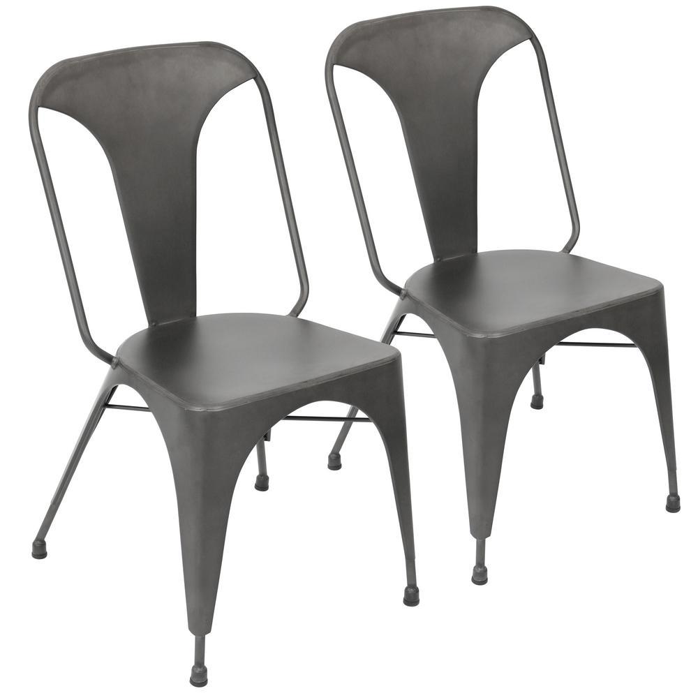 Austin Matte Grey Metal Dining Chair (Set of 2)