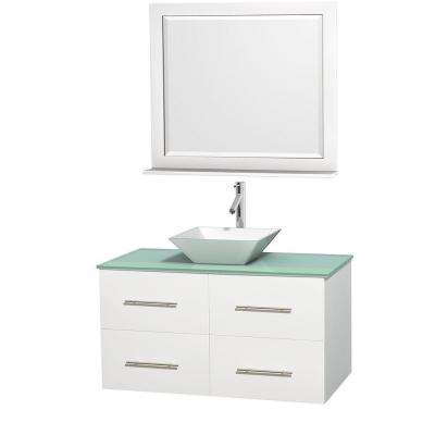 Centra 42 in. Vanity in White with Glass Vanity Top in Green, Porcelain Sink and 36 in. Mirror
