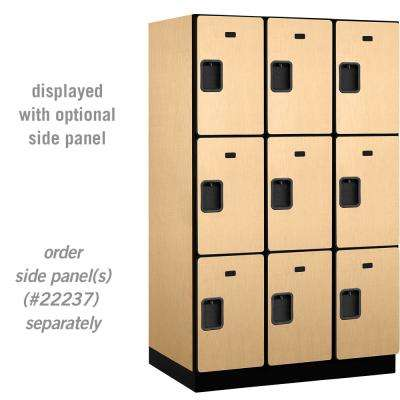 23000 Series Triple-Tier 24 in. D 9-Compartments Extra Wide Designer Particle Board Locker in Maple