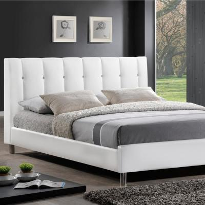 Vino Transitional White Faux Leather Upholstered Full Size Bed