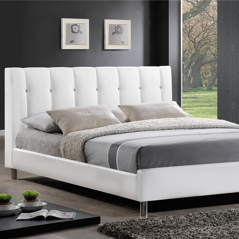 Vino Transitional White Faux Leather Upholstered Queen Size Bed