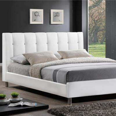 vino transitional white faux leather upholstered queen size bed black white - White Queen Bed Frame
