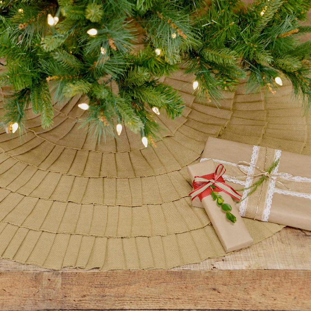 "BURLAP FESTIVE RED RUFFLED CHRISTMAS TREE SKIRT 48/"" DIAMETER COTTON BURLAP"