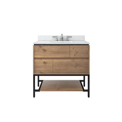 Ventford Reclaimed 36 in. Bath Vanity in Brushed Light Oak with Vanity Top with White Basin