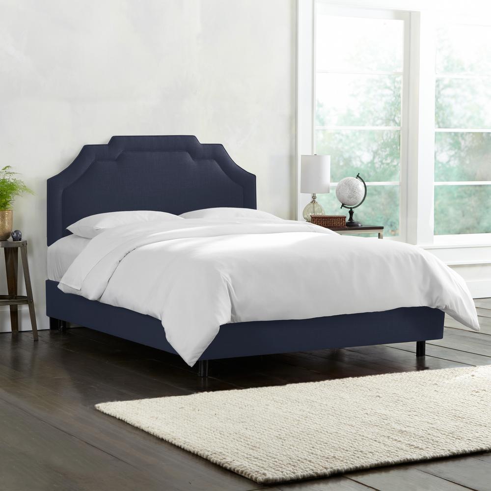 Linen Navy Twin Upholstered Border Bed