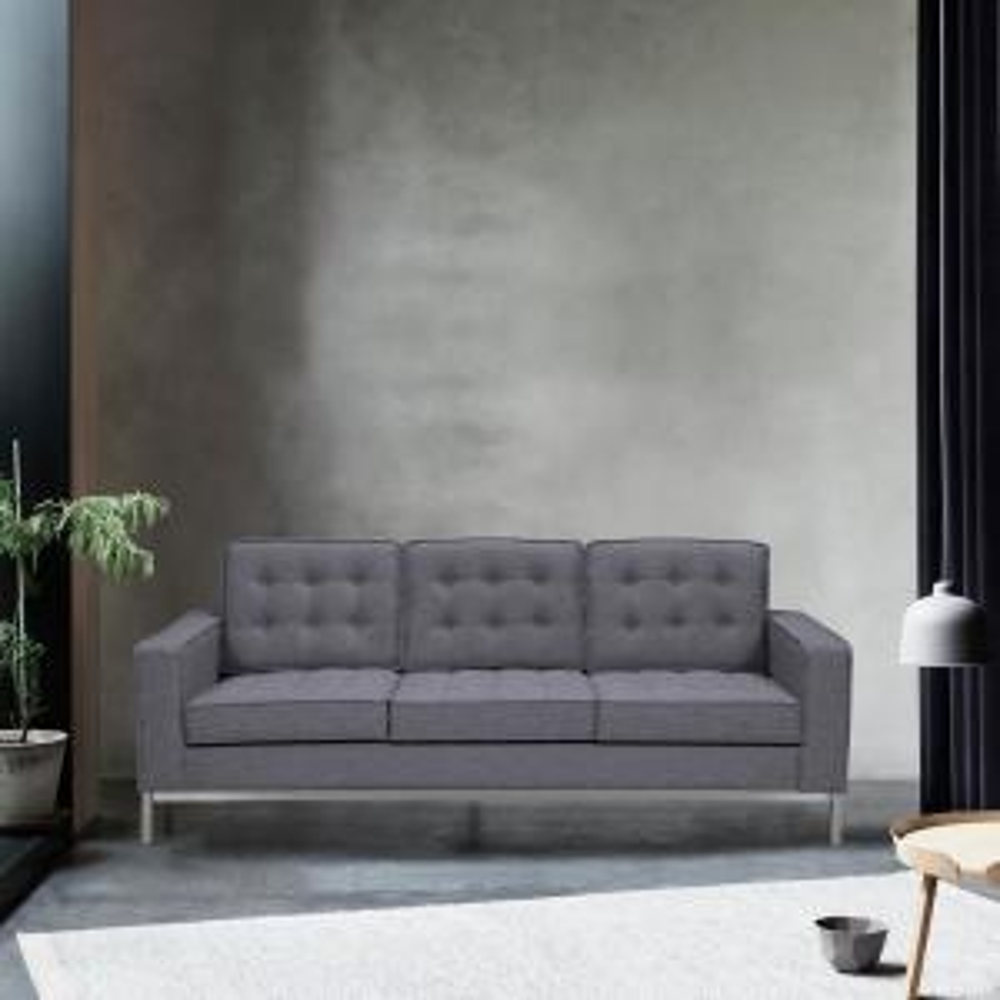 Armen Living Chandler Dark Grey Sofa LCCH3GR - The Home Depot