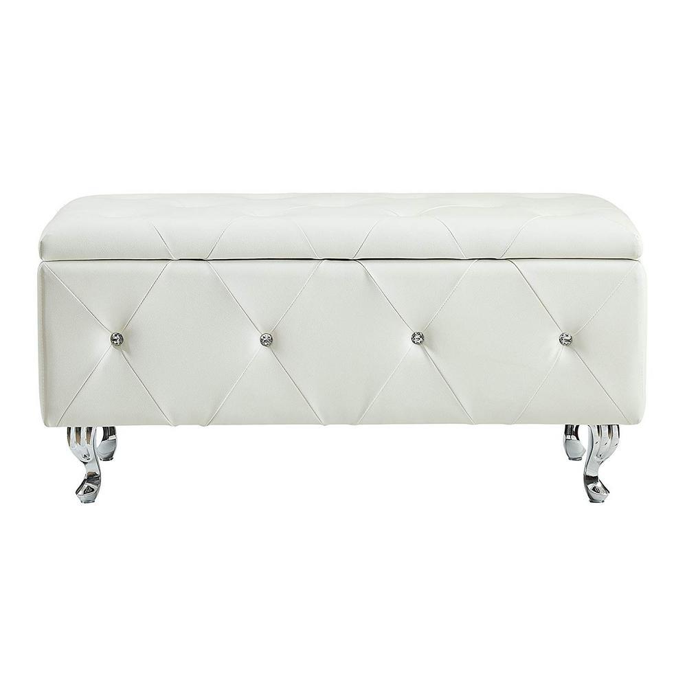 White Crystal Tufted Storage Bench